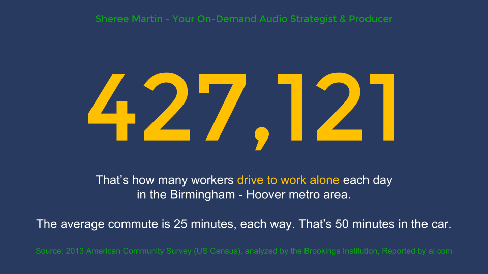 More than 427,000 workers in the Birmingham - Hoover metro area drive to work alone each business day and the average commute is 25 minutes each way. That's 50 minutes in the car. Source: 2013 American Community Survey (US Census Bureau), analyzed by the Brookings Institution and reported by Al.com. Sheree Martin is your on-demand business audio content strategist and producer. Visit http://shereemartin.com/podcast-consulting for details.