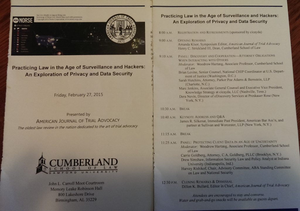 CLE Program Agenda Practicing Law in the Age of Surveillance and Hackers - January 2015 - Cumberland Law School