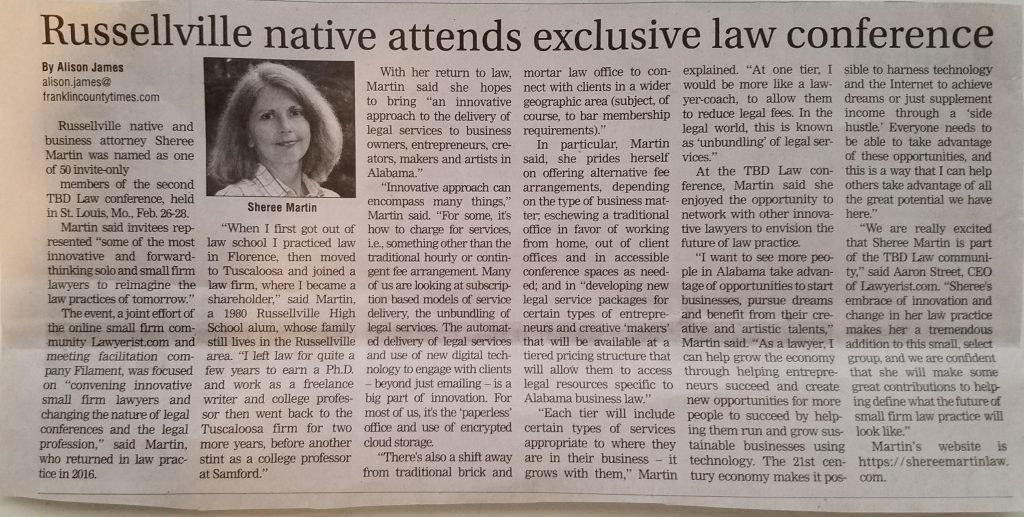 Sheree Martin attends TBD Law 2 Conference, Franklin County Times April 2017 article