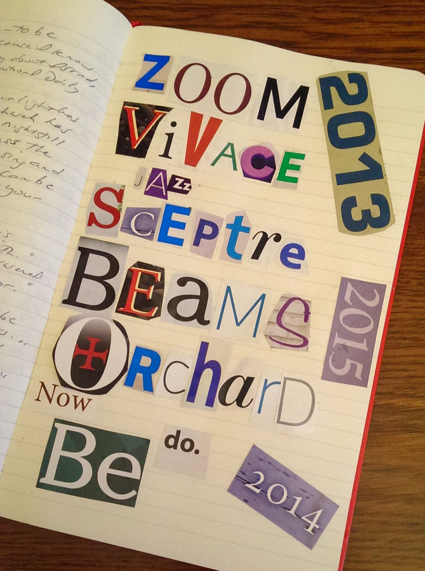 my #3words 2015 sceptre, beams, orchard and 3 words for past years are now, be, do and zoom vivace jazz, words in moleskine