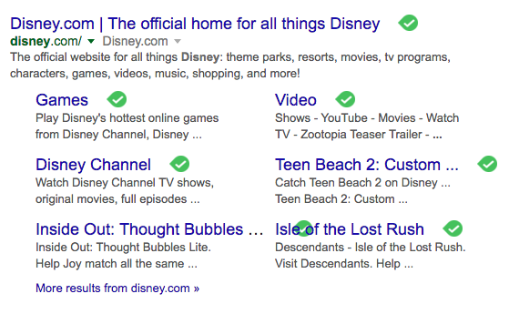 Disney website description from Google SERP reveals the scope of the Disney brand in the digital realm.