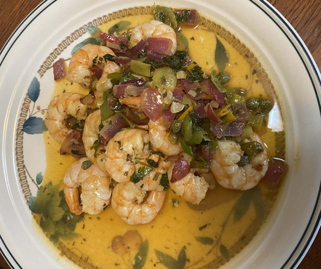 Sauteéd Gulf Shrimp with Cilantro and Shine Springs Farm Peppers