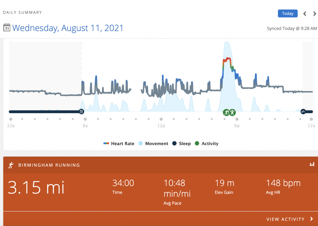 Running graph for Sheree Martin August 11, 2021 includes heart-rate graph for the day
