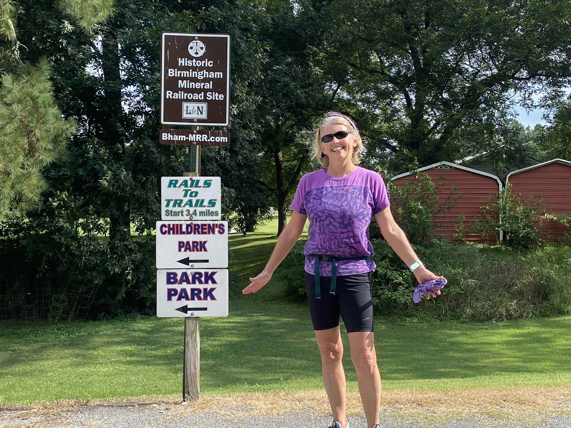 Sheree Martin after 7.1 mile along Five Mile Greenway, Black Creek Park, Fultondale, Alabama a Rails-to-Trails and Freshwater Land Trust project