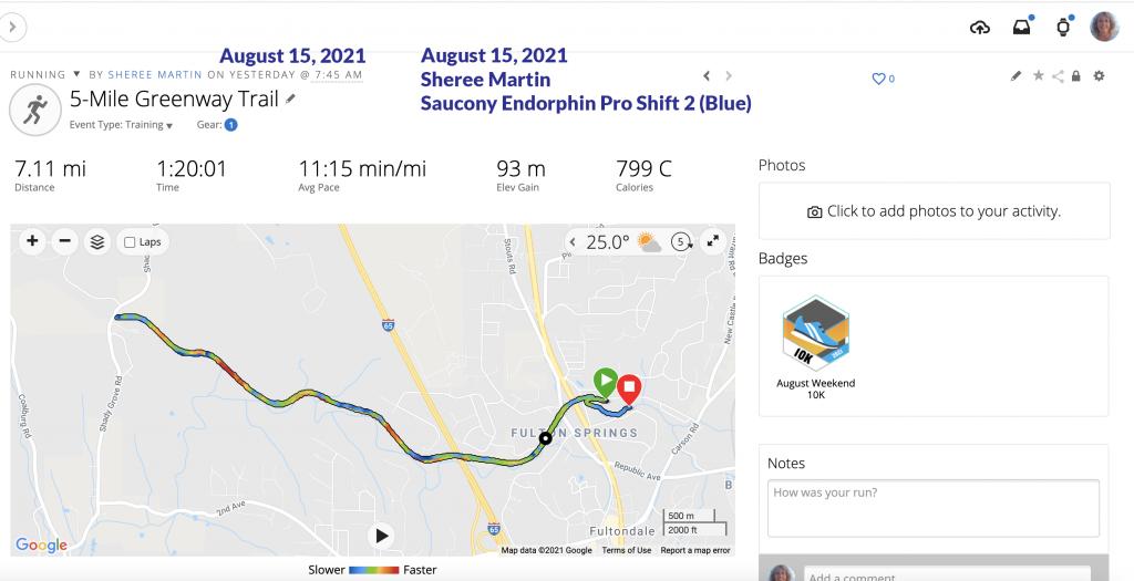 Garmin Map for August 15, 2021 Run Sheree Martin