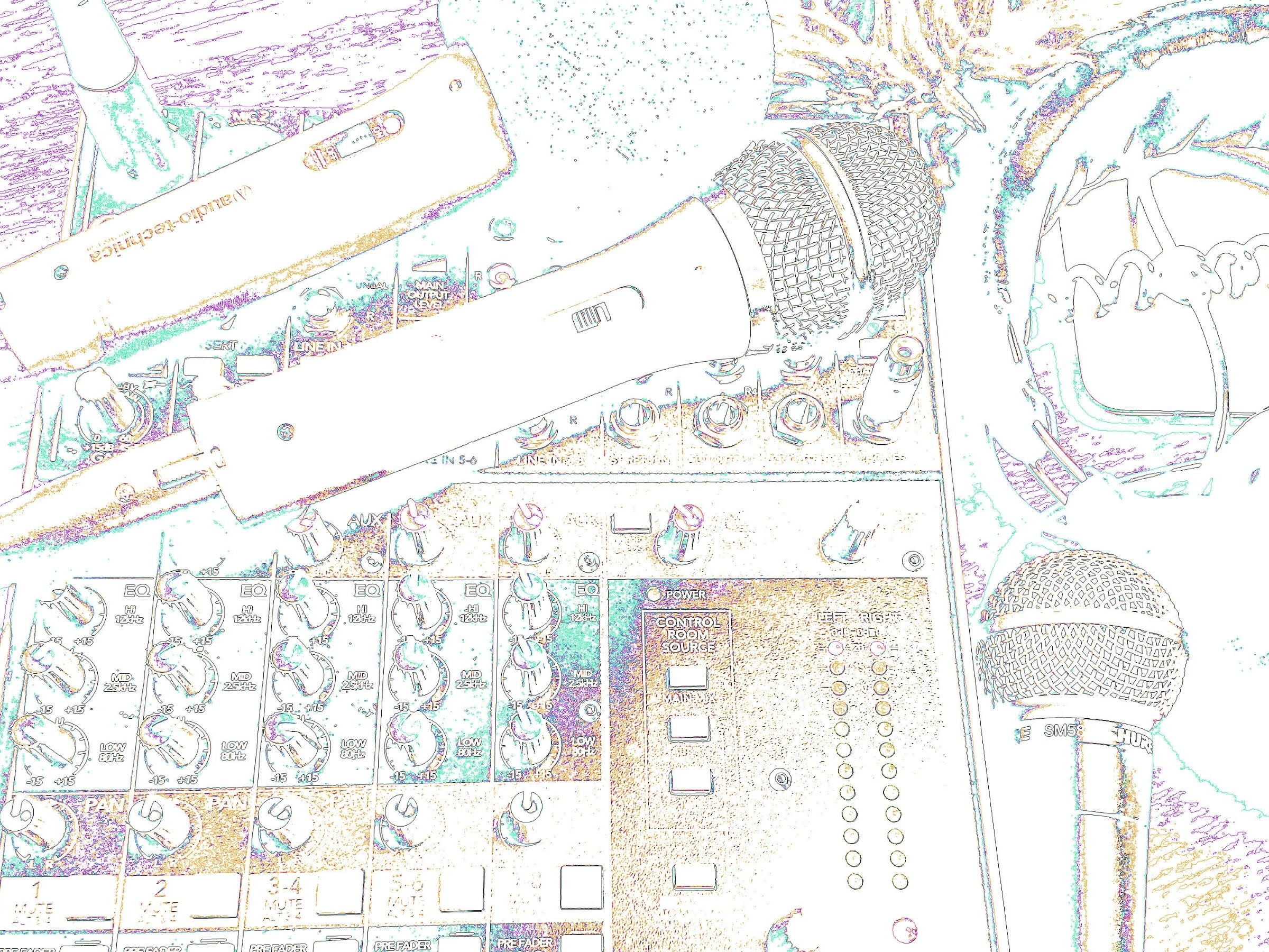 Audio mixer and two microphones image copyright Sheree Martin 2018